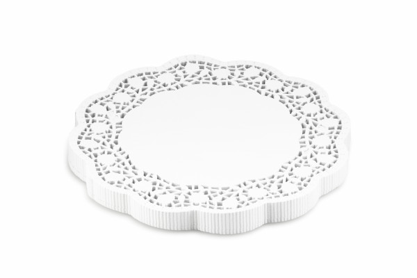Cake doilies with rose pattern, white