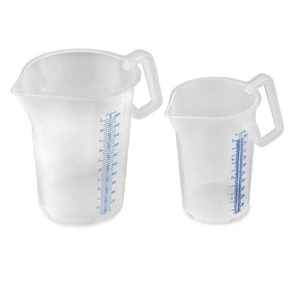 Measuring jug, stackable, closed handle, blue measuring scale